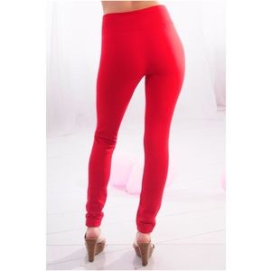 Fabric and Fabric Red Fleece Lined Leggings